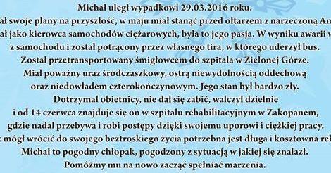 Michał Solana - pomóż mu odzyskać sprawność po wypadku.